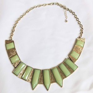 Statement necklace gold mint green